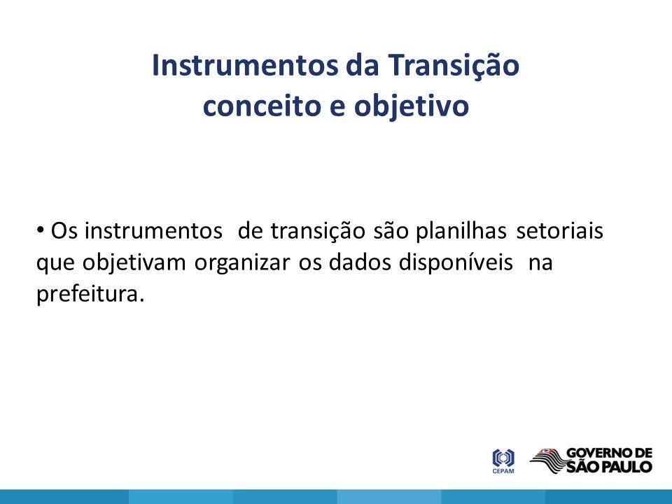Instrumentos da Transição conceito e objetivo Os instrumentos de transição são planilhas setoriais que objetivam organizar os dados disponíveis na pre