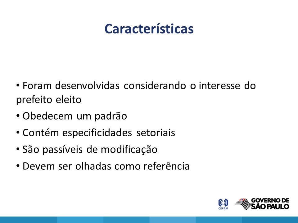 Características Foram desenvolvidas considerando o interesse do prefeito eleito Obedecem um padrão Contém especificidades setoriais São passíveis de m