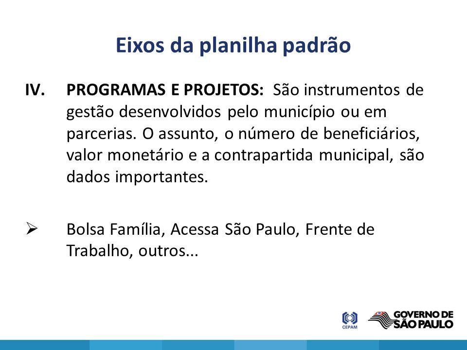 Eixos da planilha padrão IV.PROGRAMAS E PROJETOS: São instrumentos de gestão desenvolvidos pelo município ou em parcerias. O assunto, o número de bene