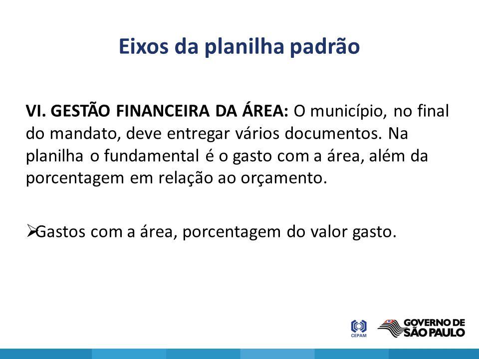 Eixos da planilha padrão VI. GESTÃO FINANCEIRA DA ÁREA: O município, no final do mandato, deve entregar vários documentos. Na planilha o fundamental é