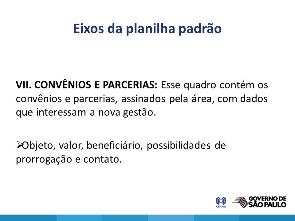 Eixos da planilha padrão VII. CONVÊNIOS E PARCERIAS: Esse quadro contém os convênios e parcerias, assinados pela área, com dados que interessam a nova