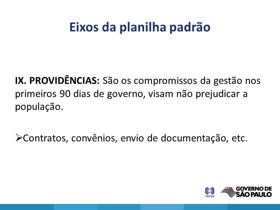 Eixos da planilha padrão IX. PROVIDÊNCIAS: São os compromissos da gestão nos primeiros 90 dias de governo, visam não prejudicar a população.  Contrat