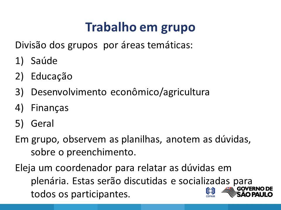 Trabalho em grupo Divisão dos grupos por áreas temáticas: 1)Saúde 2)Educação 3)Desenvolvimento econômico/agricultura 4)Finanças 5)Geral Em grupo, obse