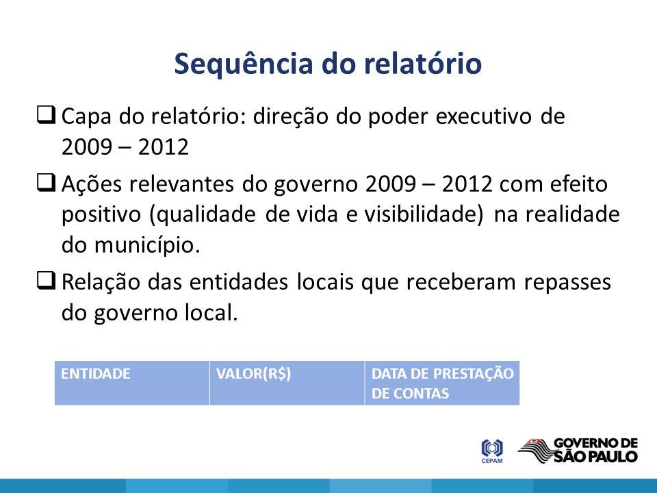 Sequência do relatório  Capa do relatório: direção do poder executivo de 2009 – 2012  Ações relevantes do governo 2009 – 2012 com efeito positivo (q