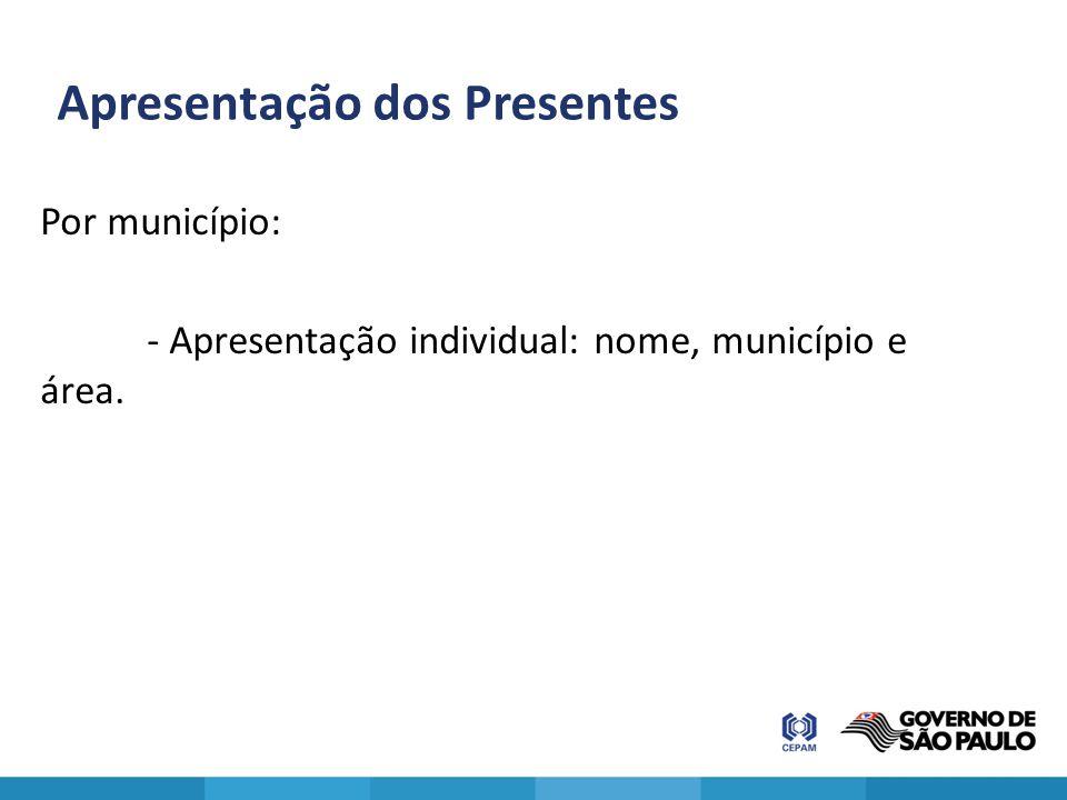 Apresentação dos Presentes Por município: - Apresentação individual: nome, município e área.