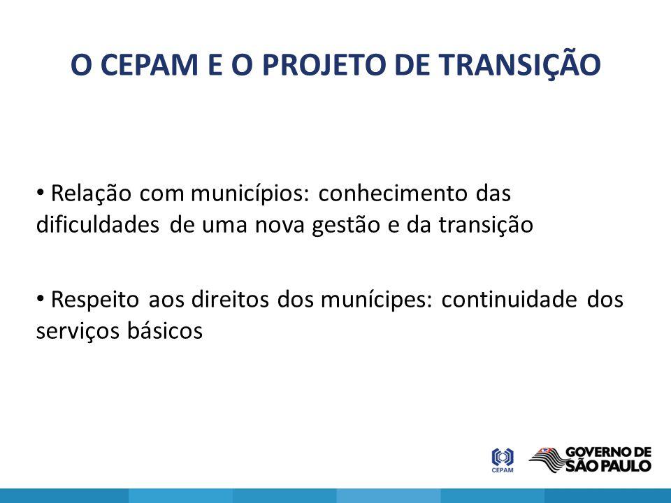 O CEPAM E O PROJETO DE TRANSIÇÃO Relação com municípios: conhecimento das dificuldades de uma nova gestão e da transição Respeito aos direitos dos mun
