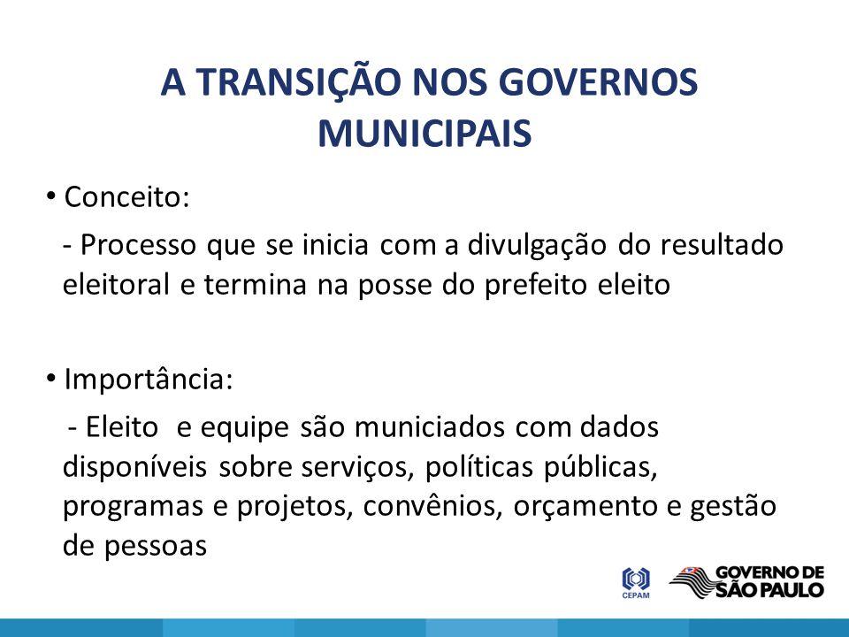A TRANSIÇÃO NOS GOVERNOS MUNICIPAIS Conceito: - Processo que se inicia com a divulgação do resultado eleitoral e termina na posse do prefeito eleito I