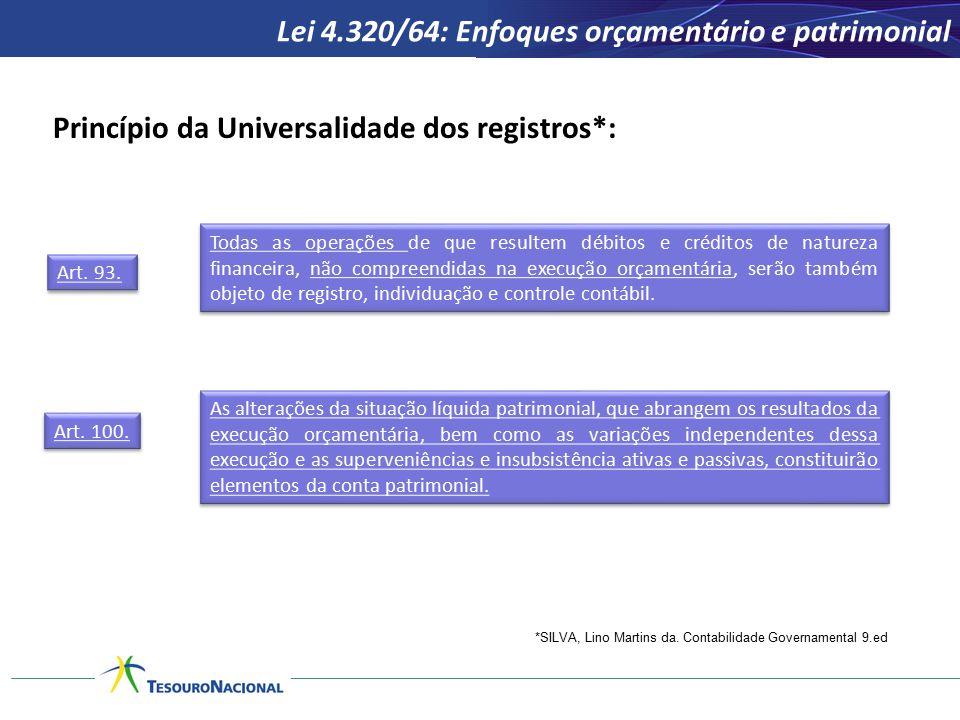 Princípio da Universalidade dos registros*: Lei 4.320/64: Enfoques orçamentário e patrimonial *SILVA, Lino Martins da. Contabilidade Governamental 9.e