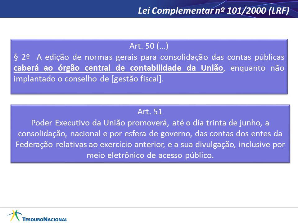 Lei Complementar nº 101/2000 (LRF) Art. 51 Poder Executivo da União promoverá, até o dia trinta de junho, a consolidação, nacional e por esfera de gov
