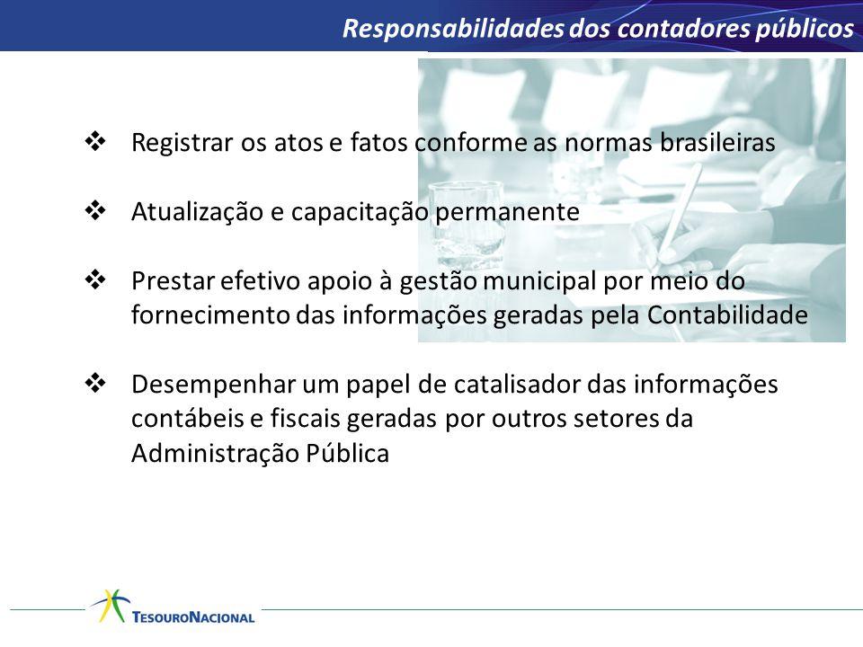  Registrar os atos e fatos conforme as normas brasileiras  Atualização e capacitação permanente  Prestar efetivo apoio à gestão municipal por meio