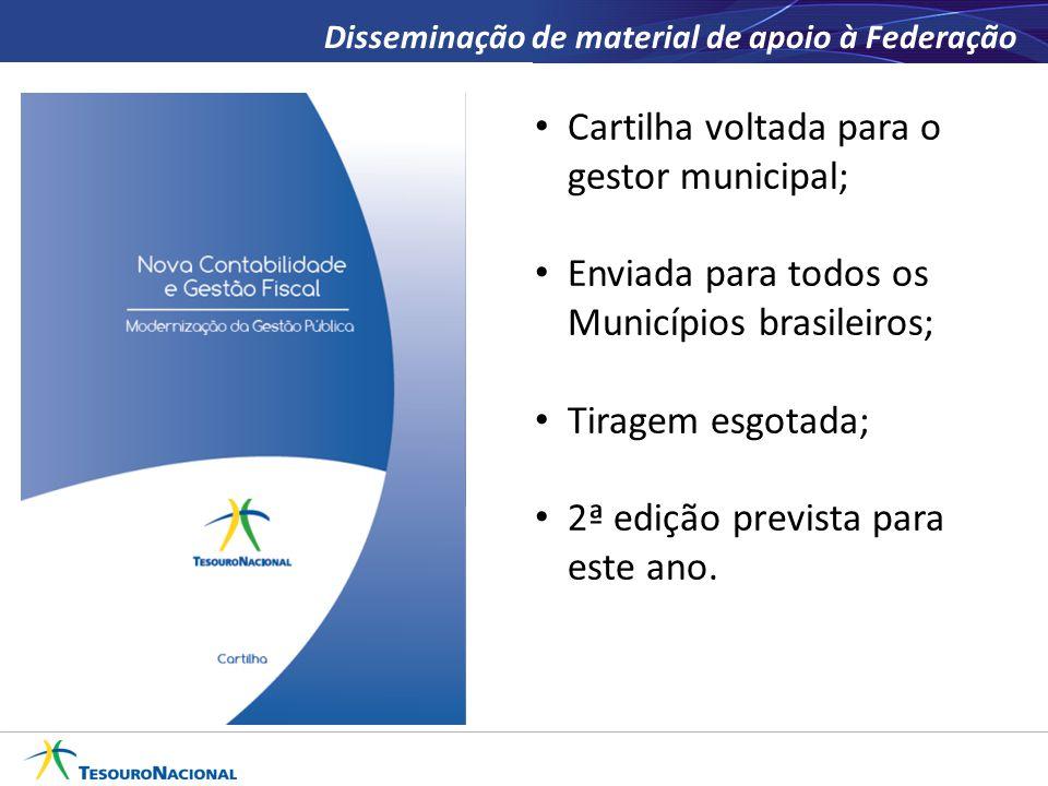 Disseminação de material de apoio à Federação Cartilha voltada para o gestor municipal; Enviada para todos os Municípios brasileiros; Tiragem esgotada