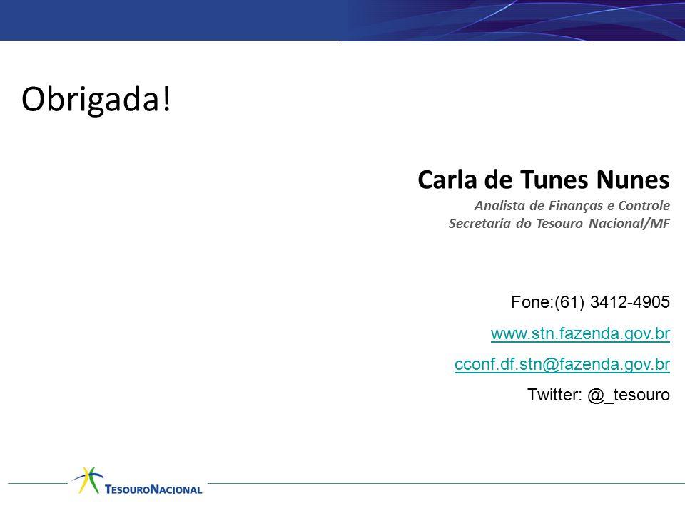 Obrigada! Carla de Tunes Nunes Analista de Finanças e Controle Secretaria do Tesouro Nacional/MF Fone:(61) 3412-4905 www.stn.fazenda.gov.br cconf.df.s