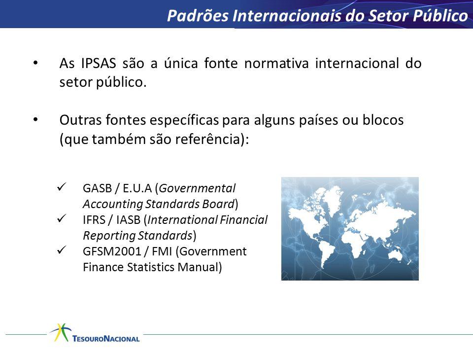 As IPSAS são a única fonte normativa internacional do setor público. Outras fontes específicas para alguns países ou blocos (que também são referência