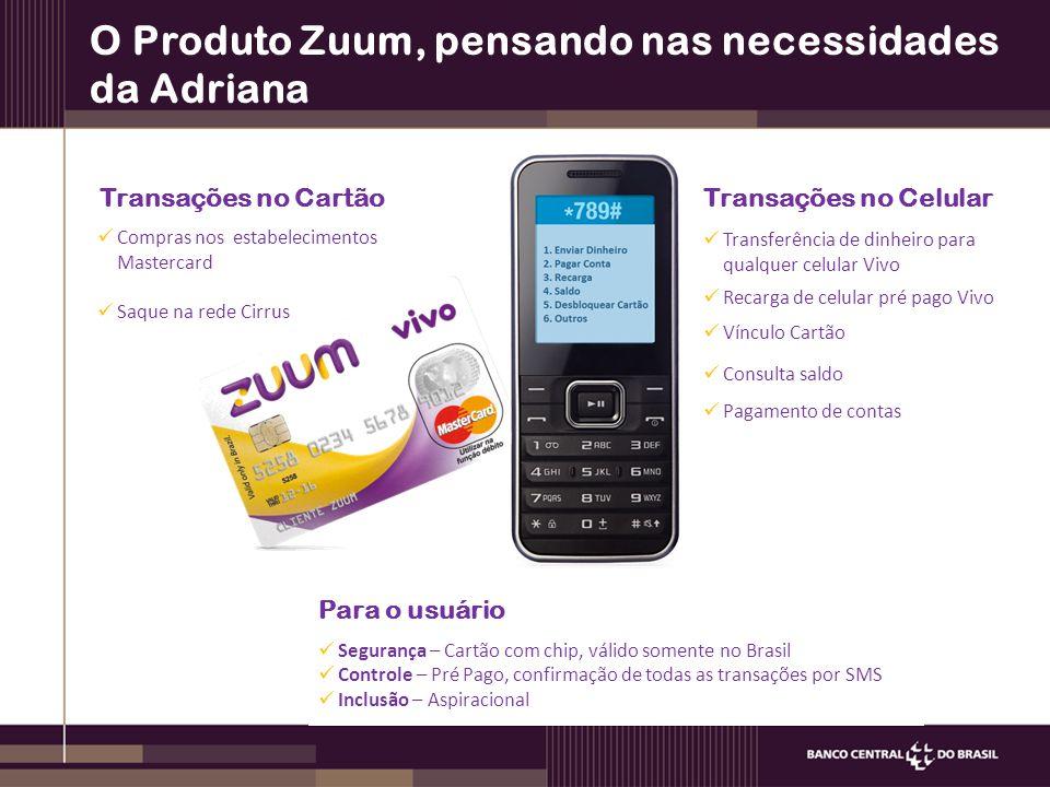 O Produto Zuum, pensando nas necessidades da Adriana Para o usuário Segurança – Cartão com chip, válido somente no Brasil Controle – Pré Pago, confirm