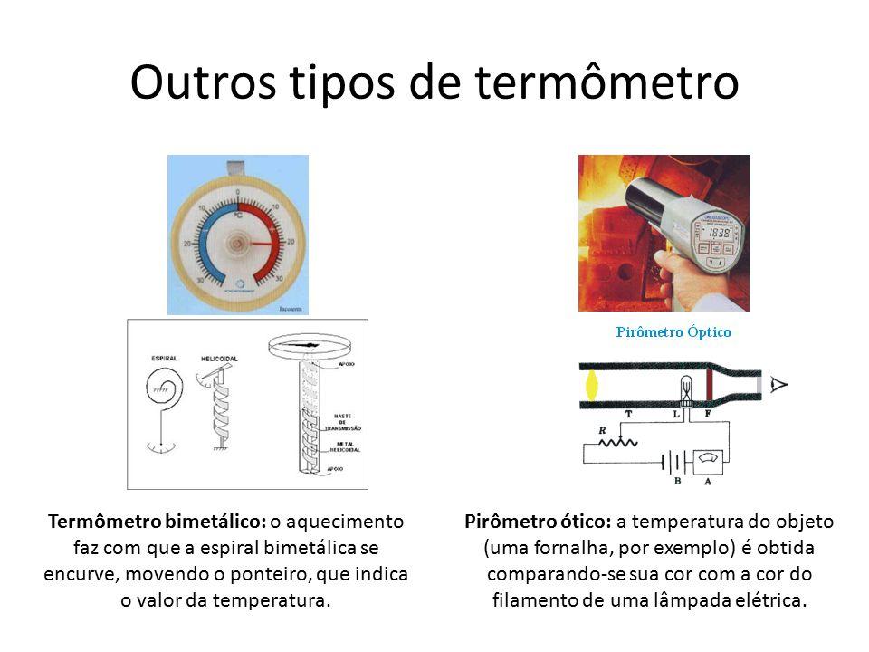 Outros tipos de termômetro Pirômetro ótico: a temperatura do objeto (uma fornalha, por exemplo) é obtida comparando-se sua cor com a cor do filamento