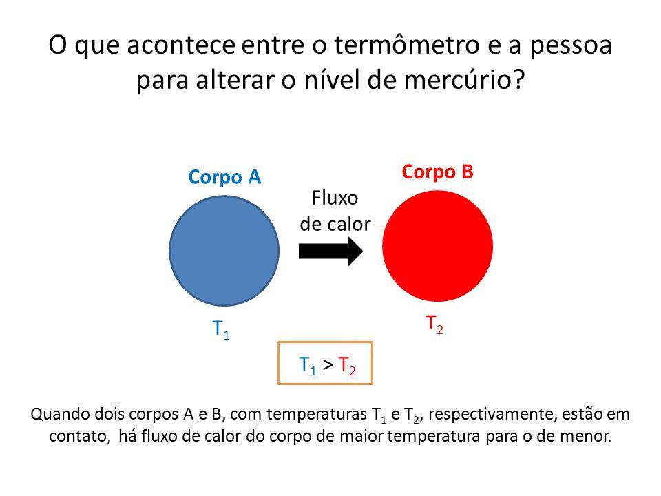 O que acontece entre o termômetro e a pessoa para alterar o nível de mercúrio? Corpo A Corpo B Fluxo de calor Quando dois corpos A e B, com temperatur