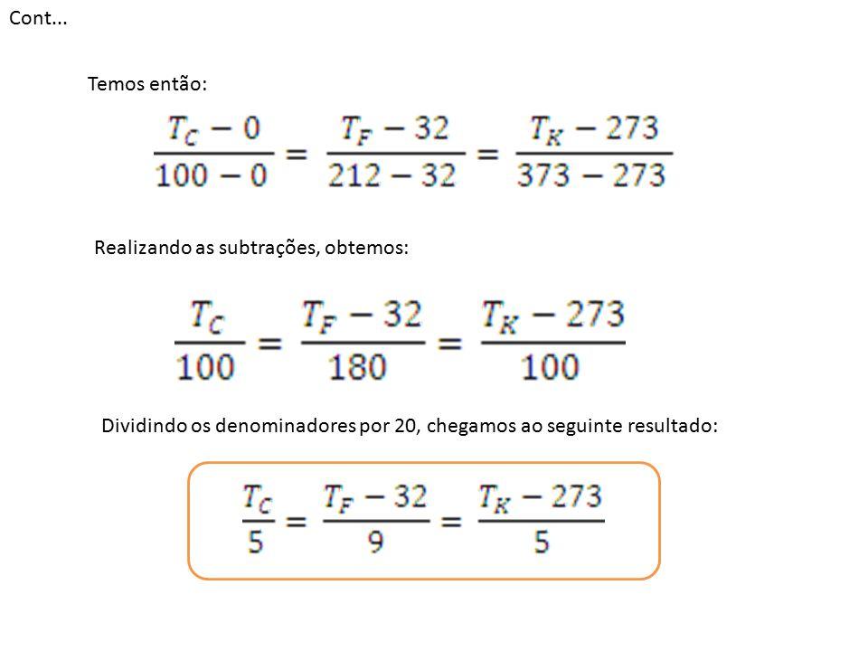 Cont... Temos então: Realizando as subtrações, obtemos: Dividindo os denominadores por 20, chegamos ao seguinte resultado: