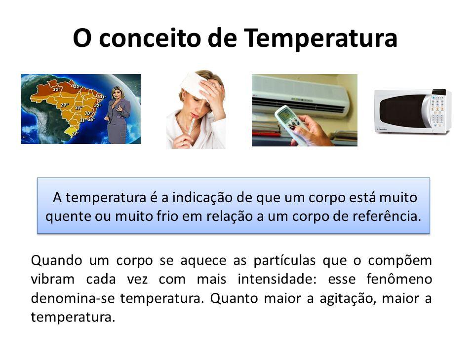 O conceito de Temperatura A temperatura é a indicação de que um corpo está muito quente ou muito frio em relação a um corpo de referência. Quando um c