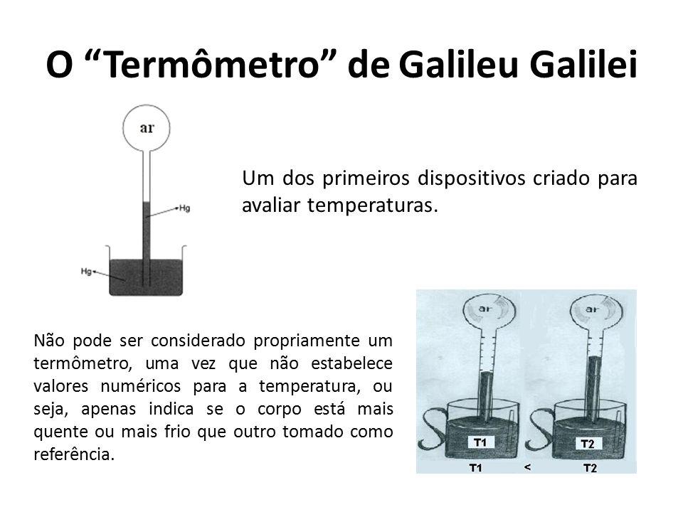 """O """"Termômetro"""" de Galileu Galilei Não pode ser considerado propriamente um termômetro, uma vez que não estabelece valores numéricos para a temperatura"""
