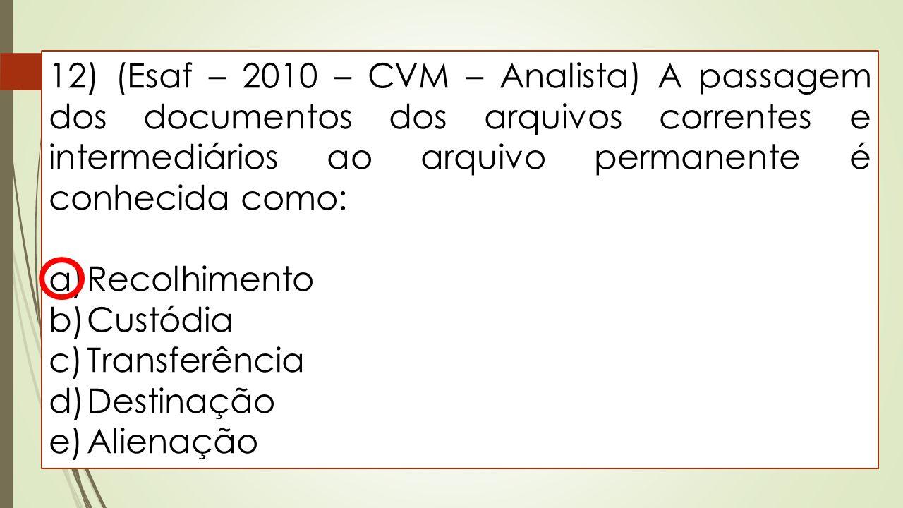 12) (Esaf – 2010 – CVM – Analista) A passagem dos documentos dos arquivos correntes e intermediários ao arquivo permanente é conhecida como: a)Recolhi