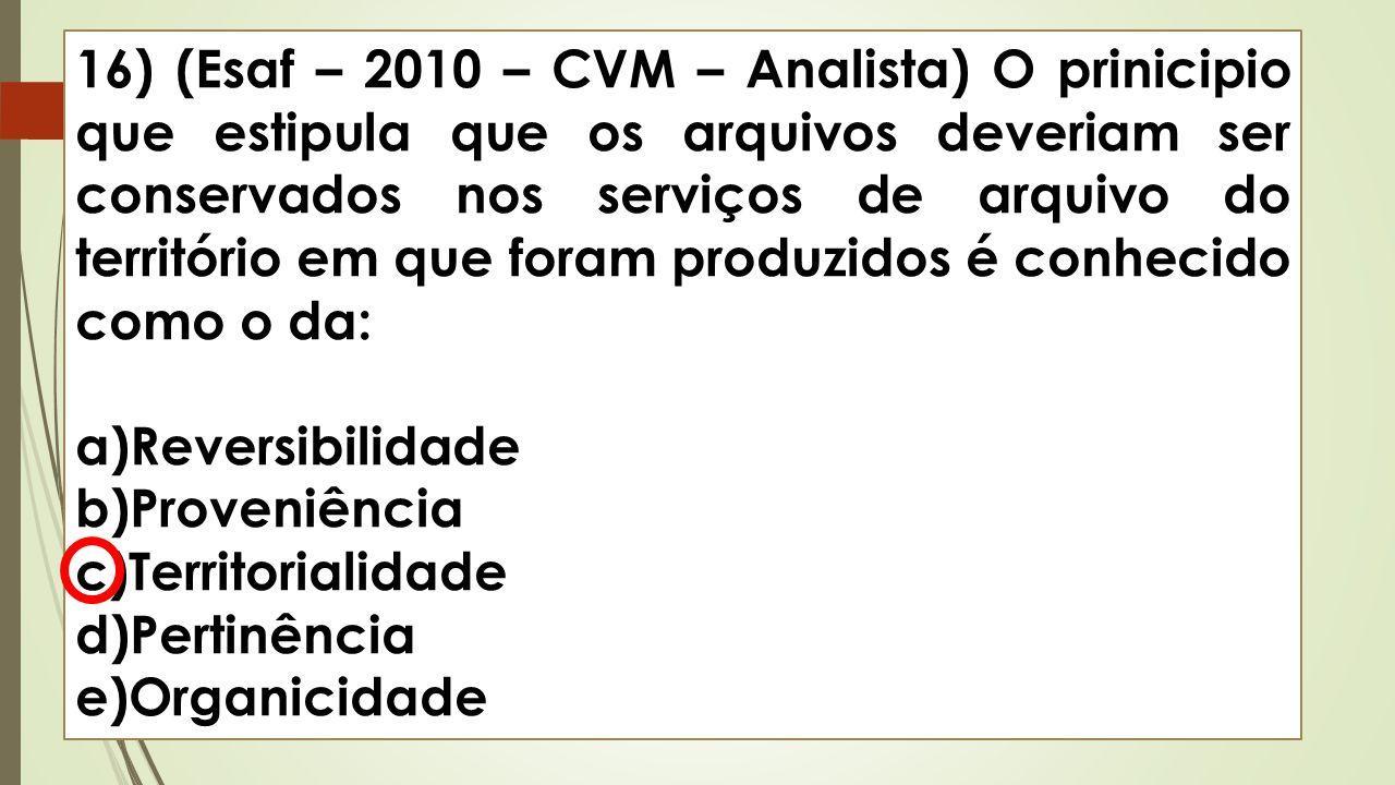 16) (Esaf – 2010 – CVM – Analista) O prinicipio que estipula que os arquivos deveriam ser conservados nos serviços de arquivo do território em que for