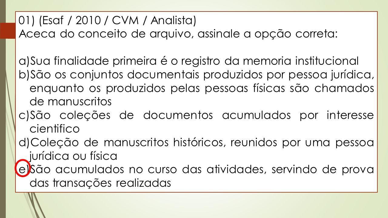 01) (Esaf / 2010 / CVM / Analista) Aceca do conceito de arquivo, assinale a opção correta: a)Sua finalidade primeira é o registro da memoria instituci