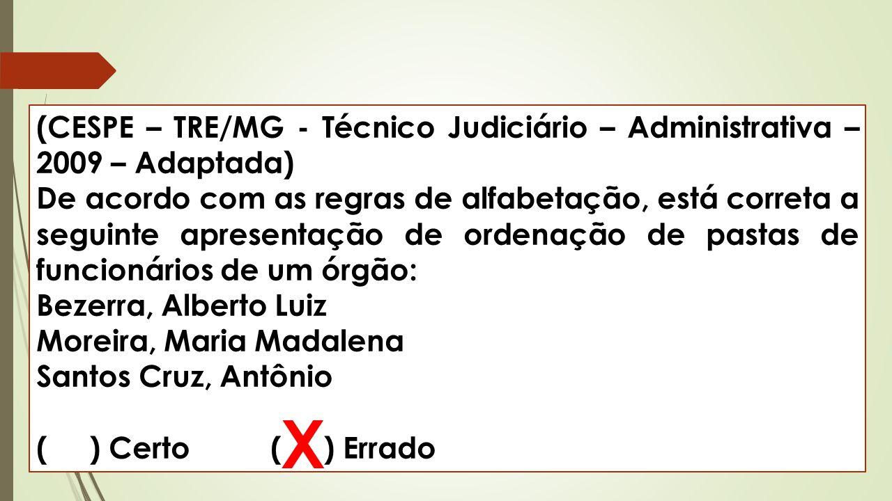 (CESPE – TRE/MG - Técnico Judiciário – Administrativa – 2009 – Adaptada) De acordo com as regras de alfabetação, está correta a seguinte apresentação