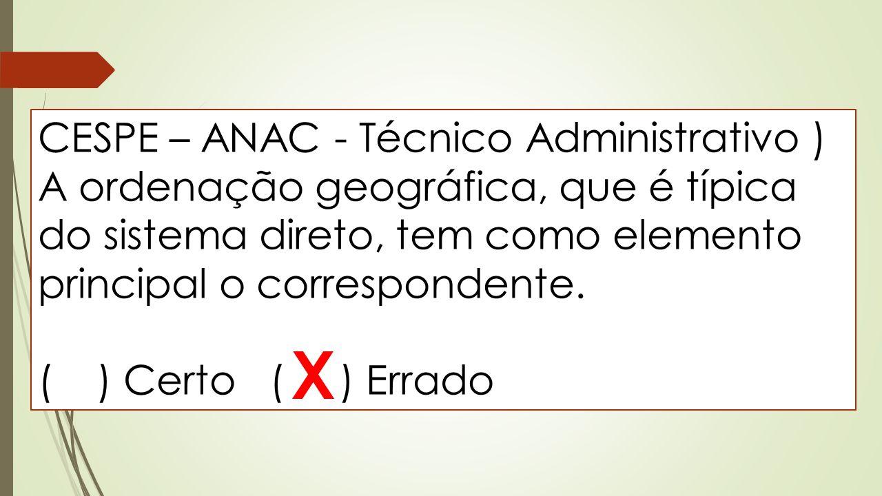 CESPE – ANAC - Técnico Administrativo ) A ordenação geográfica, que é típica do sistema direto, tem como elemento principal o correspondente. ( ) Cert
