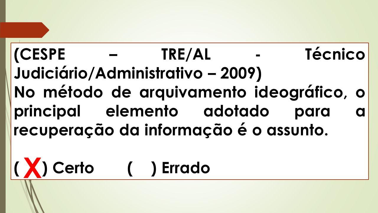 (CESPE – TRE/AL - Técnico Judiciário/Administrativo – 2009) No método de arquivamento ideográfico, o principal elemento adotado para a recuperação da