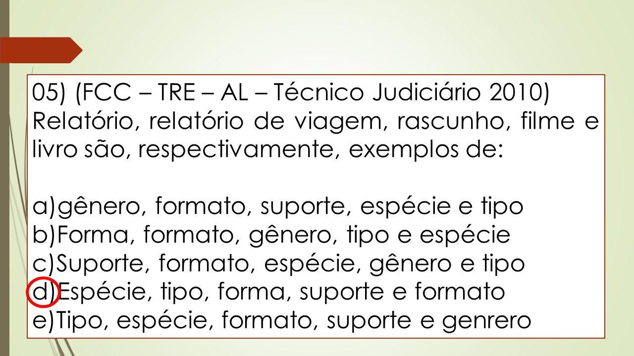 05) (FCC – TRE – AL – Técnico Judiciário 2010) Relatório, relatório de viagem, rascunho, filme e livro são, respectivamente, exemplos de: a)gênero, fo