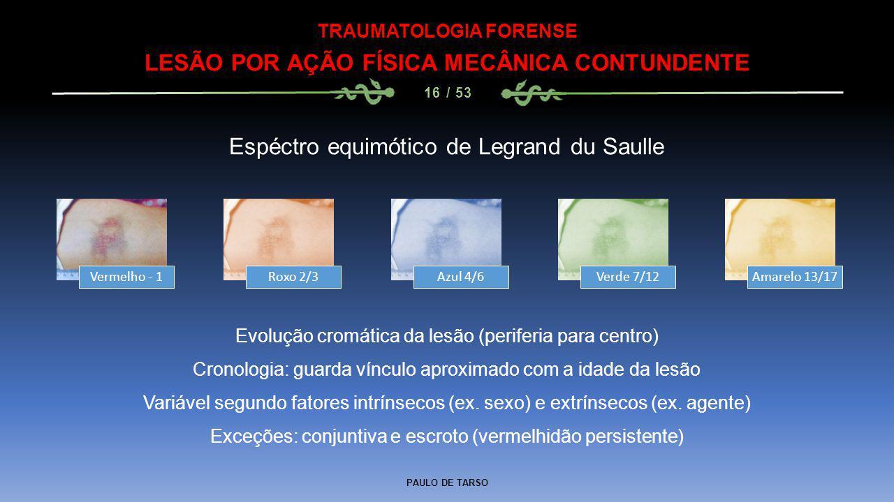 PAULO DE TARSO TRAUMATOLOGIA FORENSE LESÃO POR AÇÃO FÍSICA MECÂNICA CONTUNDENTE 16 / 53 Espéctro equimótico de Legrand du Saulle Vermelho - 1Roxo 2/3A