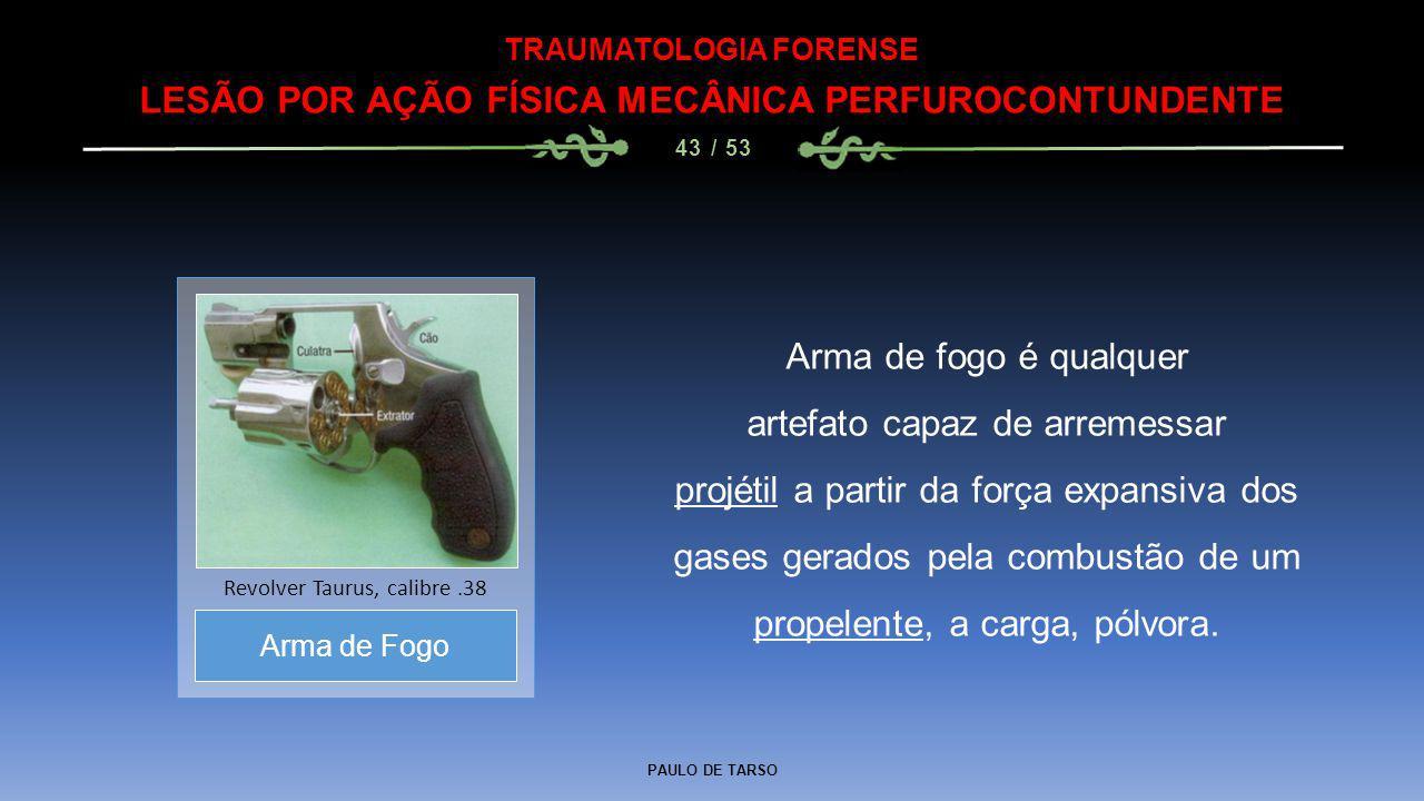 PAULO DE TARSO TRAUMATOLOGIA FORENSE LESÃO POR AÇÃO FÍSICA MECÂNICA PERFUROCONTUNDENTE 43 / 53 Arma de fogo é qualquer artefato capaz de arremessar pr