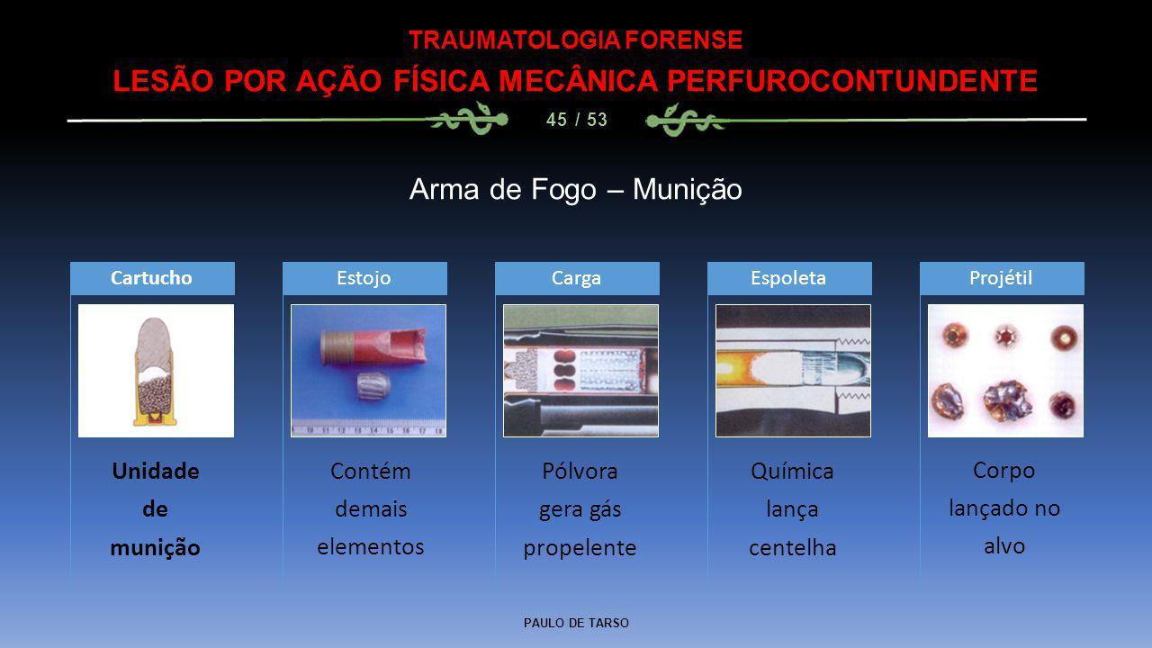 PAULO DE TARSO TRAUMATOLOGIA FORENSE LESÃO POR AÇÃO FÍSICA MECÂNICA PERFUROCONTUNDENTE 45 / 53 Arma de Fogo – Munição Unidade de munição CartuchoEstoj