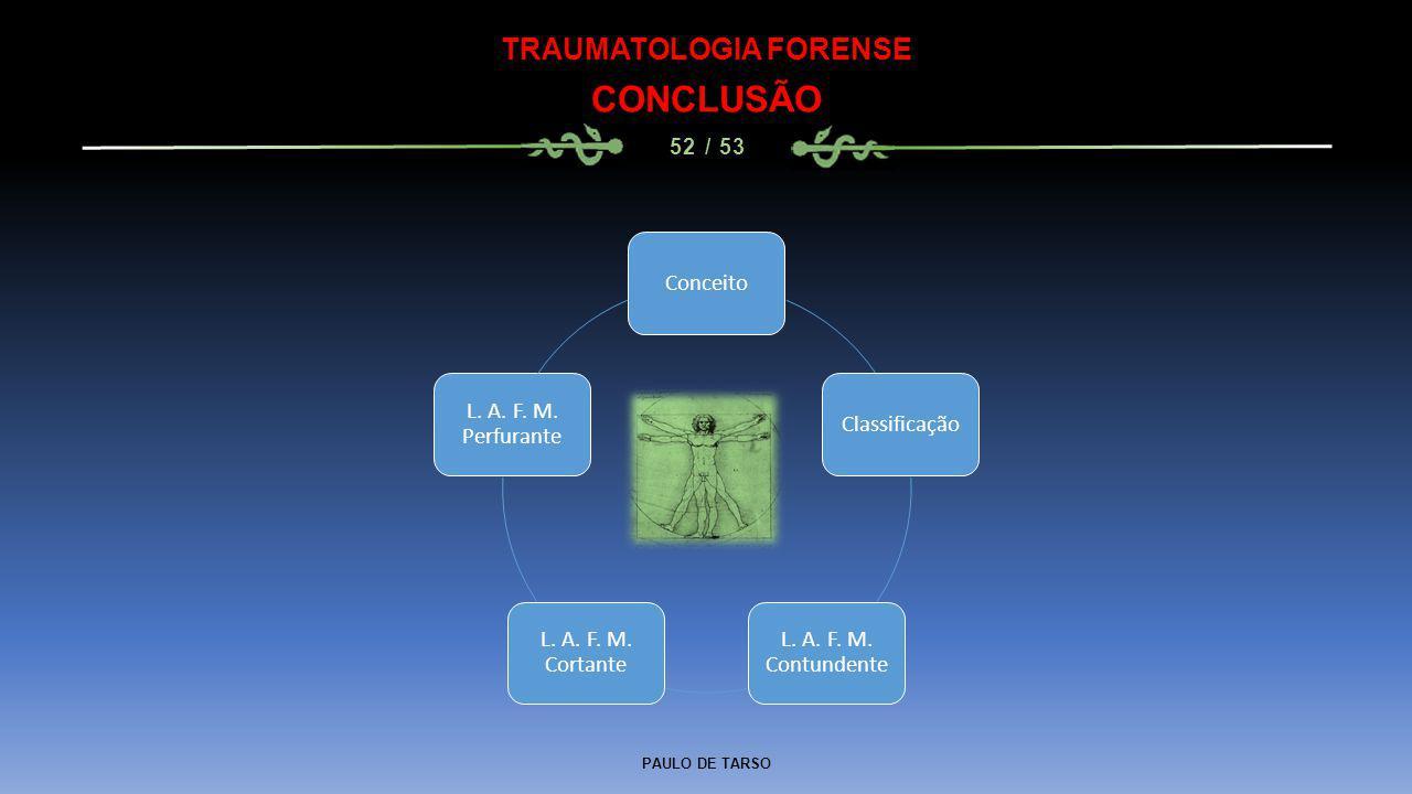 PAULO DE TARSO TRAUMATOLOGIA FORENSE CONCLUSÃO 52 / 53 ConceitoClassificação L. A. F. M. Contundente L. A. F. M. Cortante L. A. F. M. Perfurante