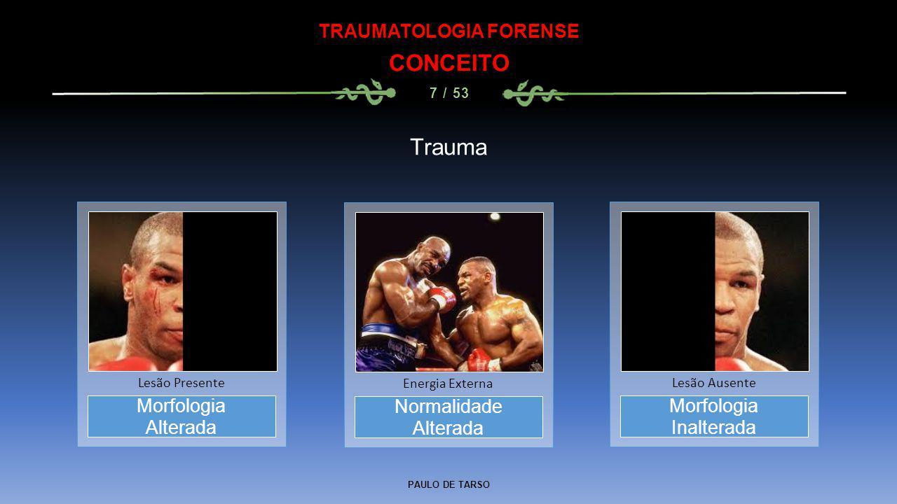 PAULO DE TARSO TRAUMATOLOGIA FORENSE CONCEITO 7 / 53 Trauma Normalidade Alterada Energia Externa Morfologia Alterada Lesão Presente Morfologia Inalter