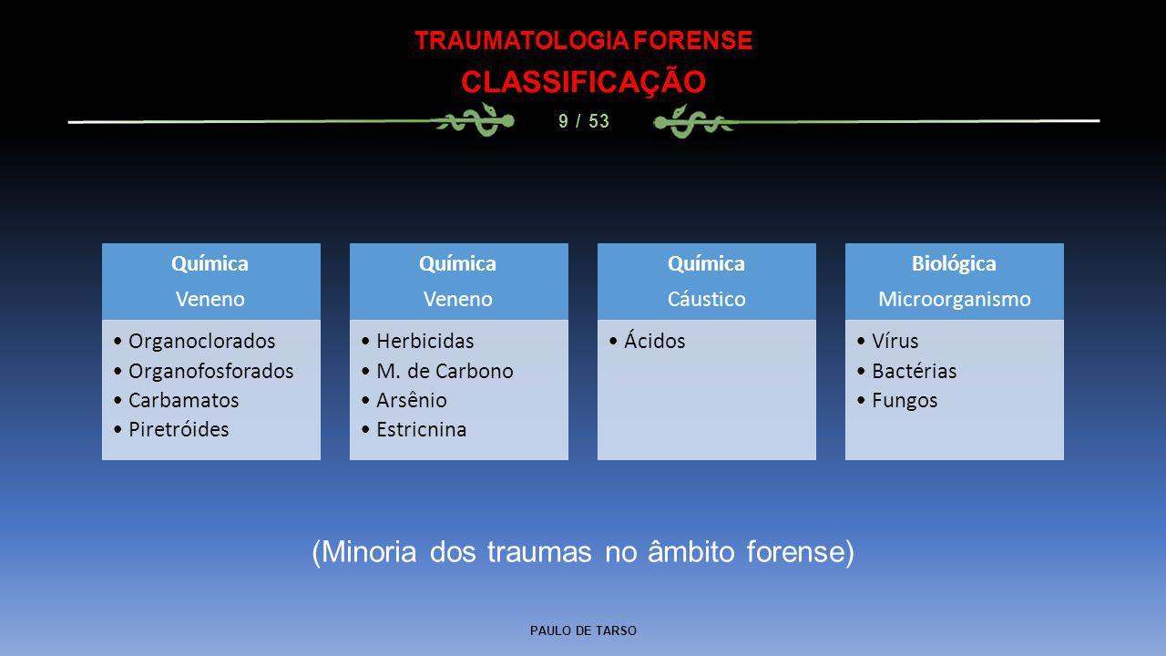 PAULO DE TARSO TRAUMATOLOGIA FORENSE CLASSIFICAÇÃO 9 / 53 Química Veneno Organoclorados Organofosforados Carbamatos Piretróides Química Veneno Herbici