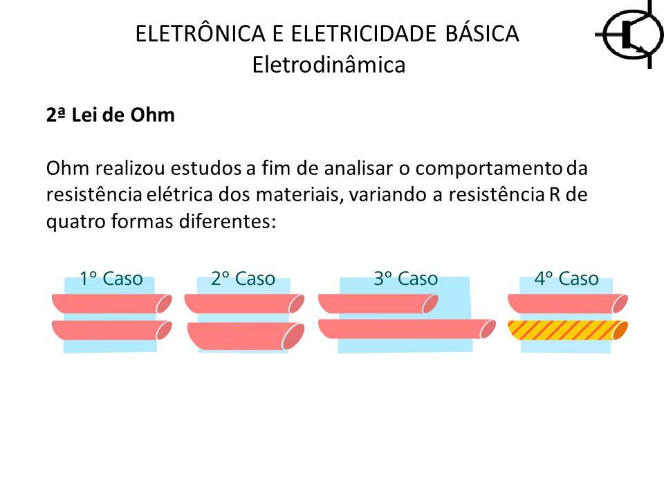 ELETRÔNICA E ELETRICIDADE BÁSICA Eletrodinâmica 2ª Lei de Ohm Ohm realizou estudos a fim de analisar o comportamento da resistência elétrica dos mater