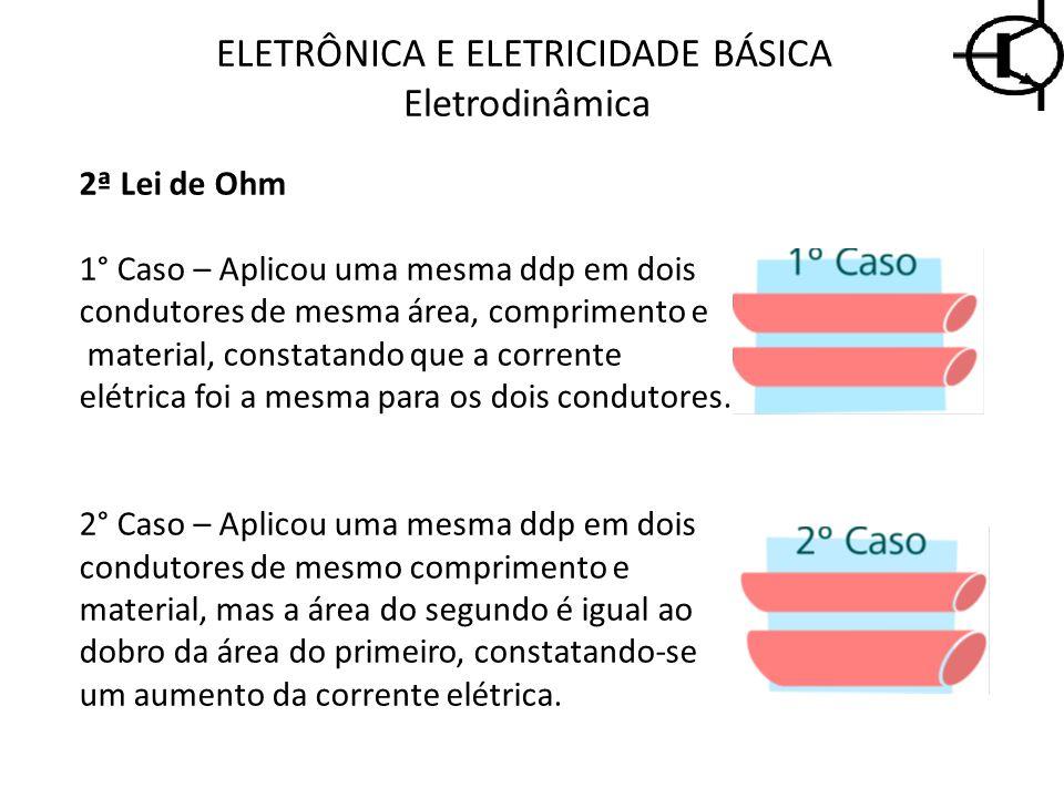 2ª Lei de Ohm 1° Caso – Aplicou uma mesma ddp em dois condutores de mesma área, comprimento e material, constatando que a corrente elétrica foi a mesm