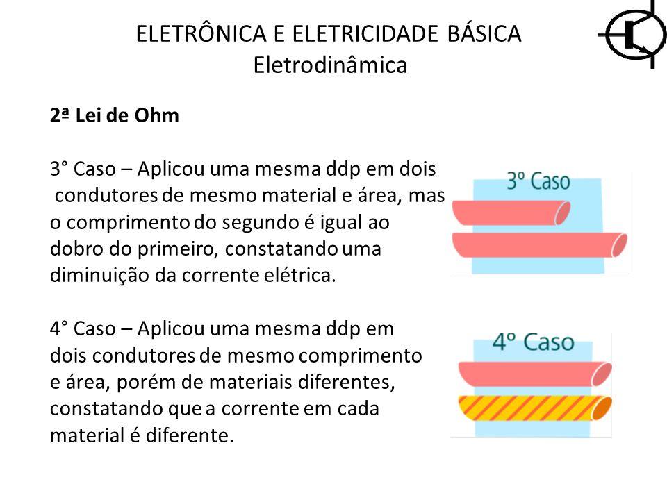 2ª Lei de Ohm 3° Caso – Aplicou uma mesma ddp em dois condutores de mesmo material e área, mas o comprimento do segundo é igual ao dobro do primeiro,