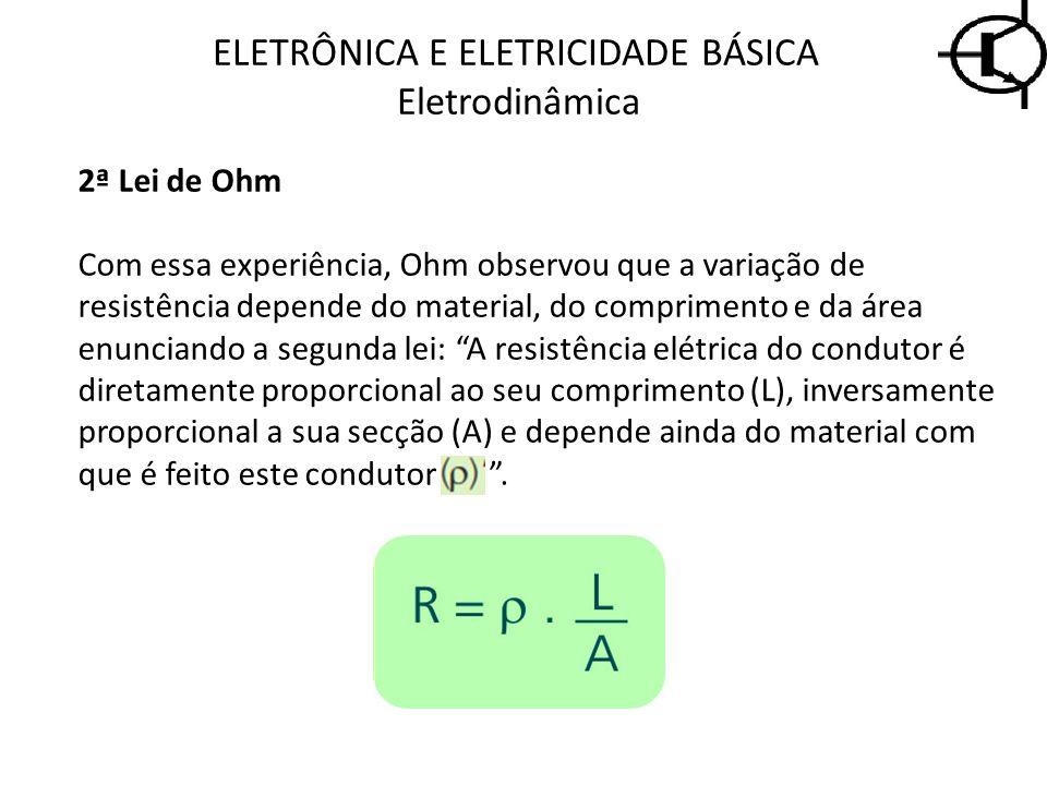 2ª Lei de Ohm Com essa experiência, Ohm observou que a variação de resistência depende do material, do comprimento e da área enunciando a segunda lei: