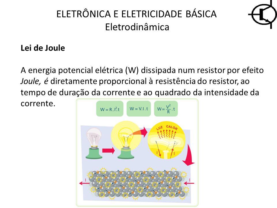 Lei de Joule A energia potencial elétrica (W) dissipada num resistor por efeito Joule, é diretamente proporcional à resistência do resistor, ao tempo