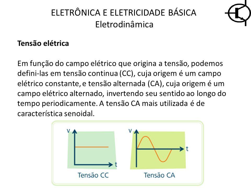 ELETRÔNICA E ELETRICIDADE BÁSICA Eletrodinâmica Tensão elétrica Em função do campo elétrico que origina a tensão, podemos defini-las em tensão continu