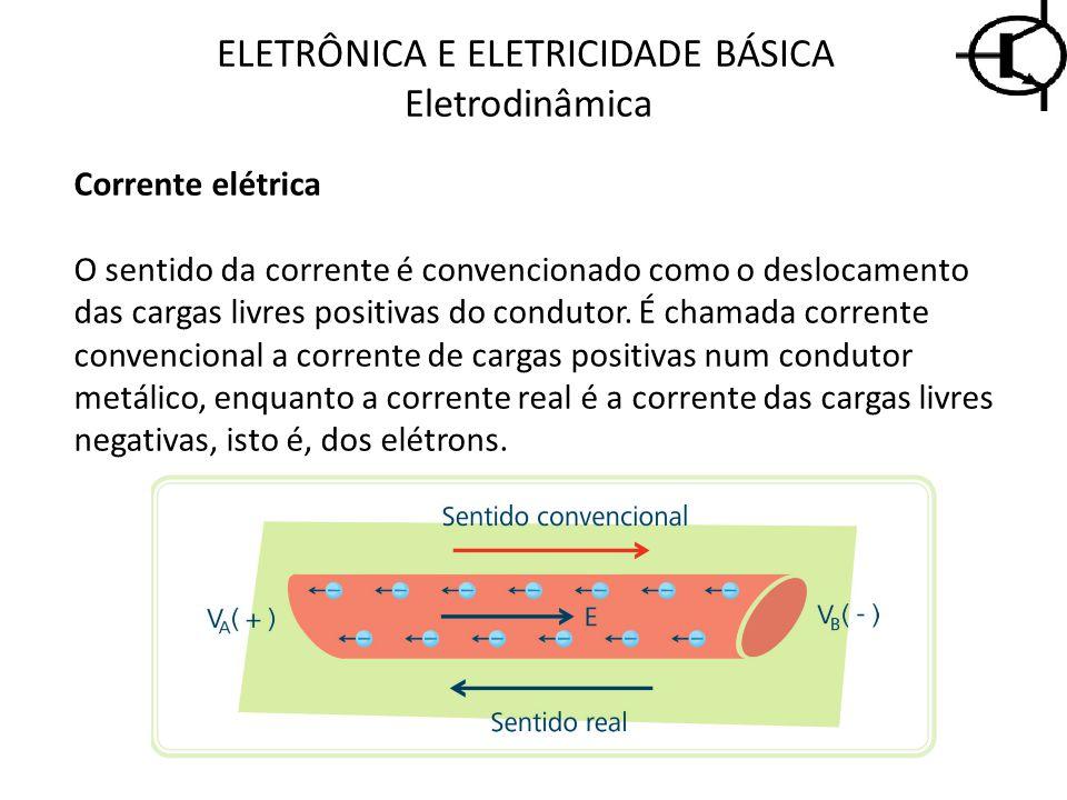 ELETRÔNICA E ELETRICIDADE BÁSICA Eletrodinâmica Corrente elétrica O sentido da corrente é convencionado como o deslocamento das cargas livres positiva