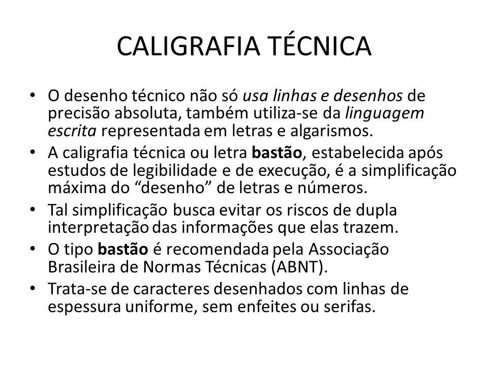 CALIGRAFIA TÉCNICA O desenho técnico não só usa linhas e desenhos de precisão absoluta, também utiliza-se da linguagem escrita representada em letras