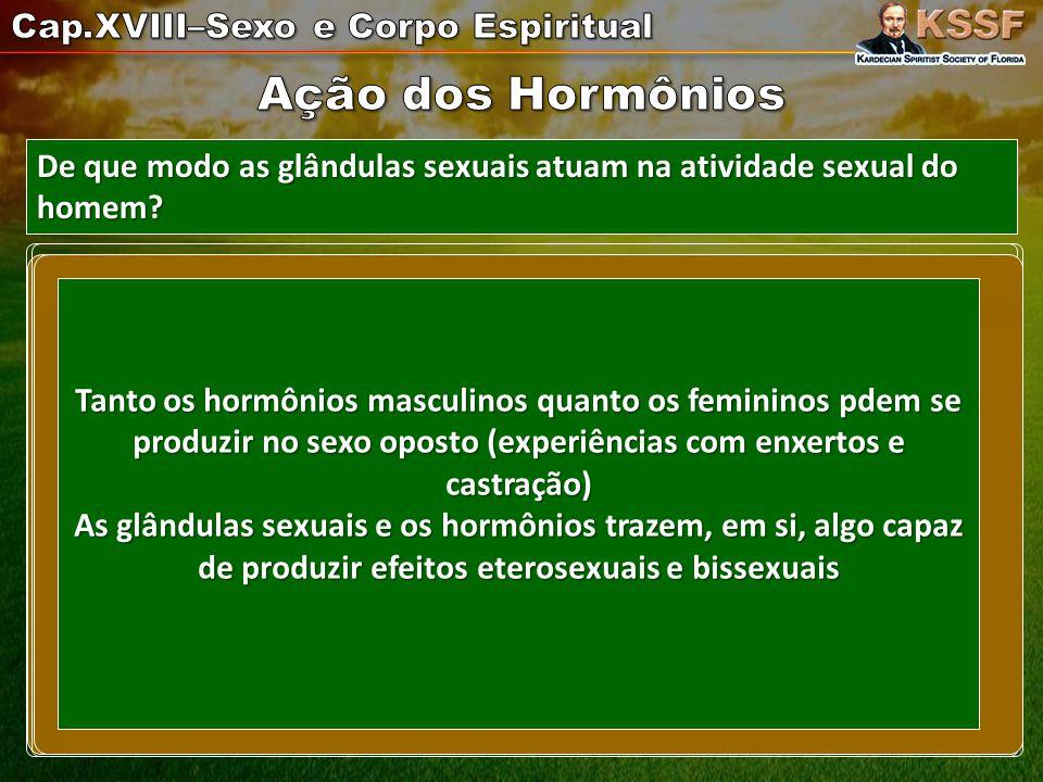 De que modo as glândulas sexuais atuam na atividade sexual do homem.