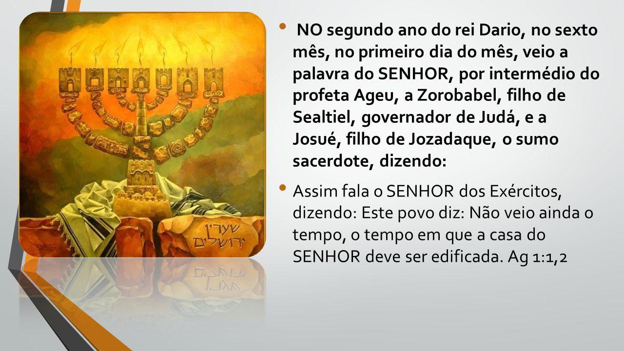 NO segundo ano do rei Dario, no sexto mês, no primeiro dia do mês, veio a palavra do SENHOR, por intermédio do profeta Ageu, a Zorobabel, filho de Sea