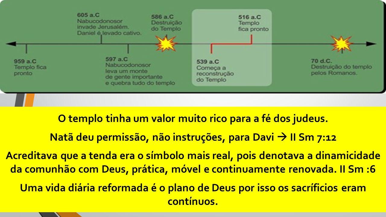 O templo tinha um valor muito rico para a fé dos judeus. Natã deu permissão, não instruções, para Davi  II Sm 7:12 Acreditava que a tenda era o símbo