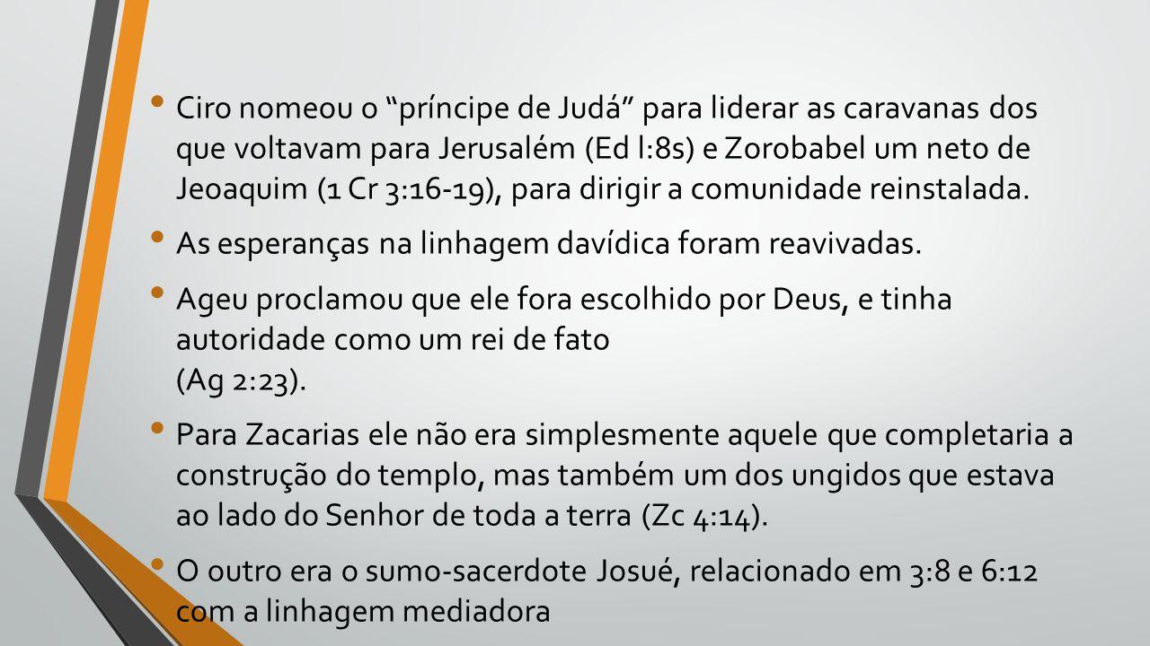 """Ciro nomeou o """"príncipe de Judá"""" para liderar as caravanas dos que voltavam para Jerusalém (Ed l:8s) e Zorobabel um neto de Jeoaquim (1 Cr 3:16-19), p"""