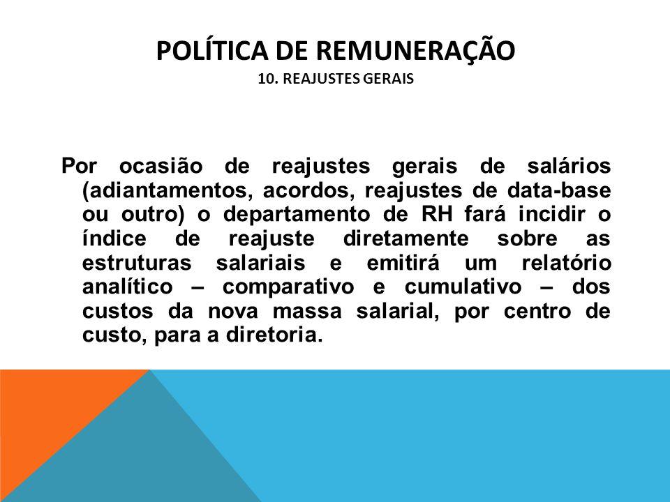 POLÍTICA DE REMUNERAÇÃO 10. REAJUSTES GERAIS Por ocasião de reajustes gerais de salários (adiantamentos, acordos, reajustes de data-base ou outro) o d