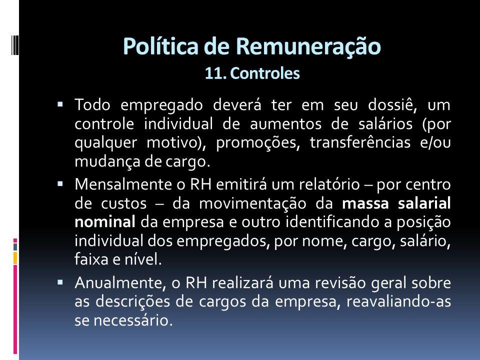 Política de Remuneração 11. Controles  Todo empregado deverá ter em seu dossiê, um controle individual de aumentos de salários (por qualquer motivo),